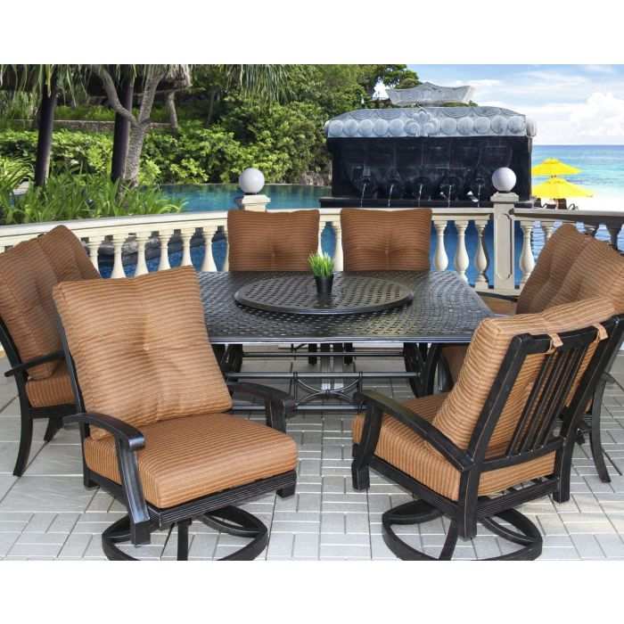 Barbados Cushion Outdoor Patio 9pc Dining Set With Series 5000 64 Square Table Includes 35 Lazy Susan Cushions Antique Bronze Finish