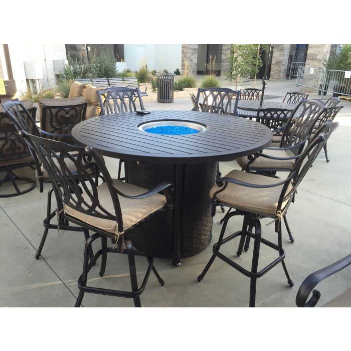 Superb San Marcos 7 Piece Bar Height Patio Set With Fire Pit 60 Inch Round Table For 6 Person Uwap Interior Chair Design Uwaporg
