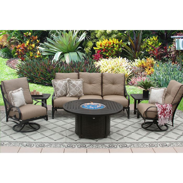 Peachy Newport Aluminum Outdoor Patio 6Pc Sofa Club Swivel Rockers End Tables 50 Inch Round Fire Pit Series 4000 With Sesame Linen Cushion Antique Bronze Dailytribune Chair Design For Home Dailytribuneorg