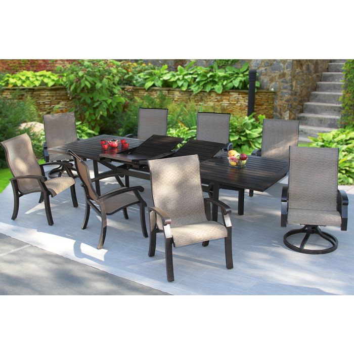 Wondrous Heritage Outdoor Living Barbados Sling Patio 9Pc Dining Set 44X130 Extendable Table Series 4000 Inzonedesignstudio Interior Chair Design Inzonedesignstudiocom